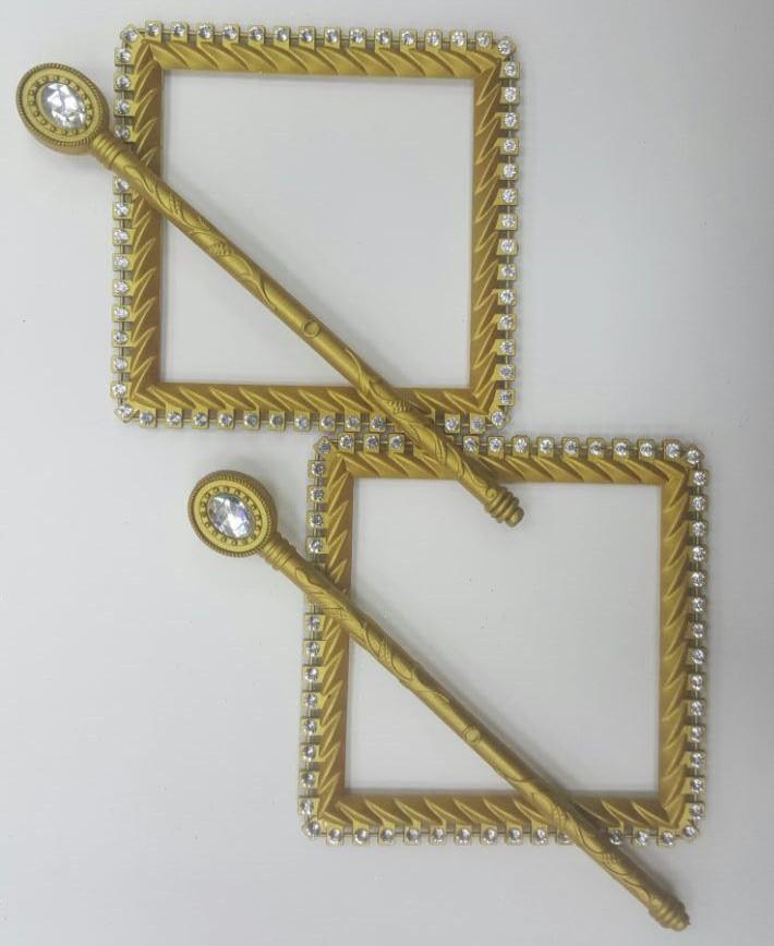 Заколки Стразы квадрат col Золото матовое