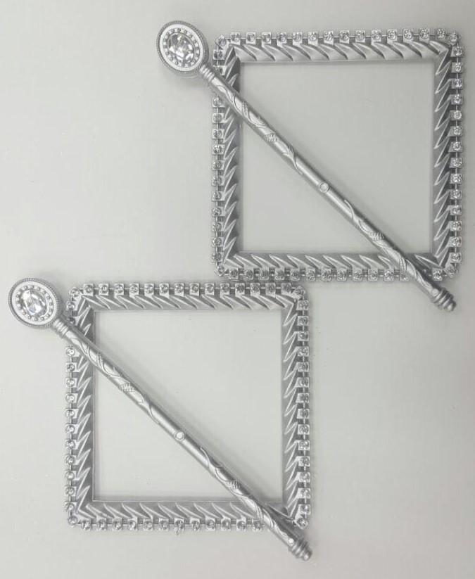 Заколки Стразы квадрат col Серебро матовое