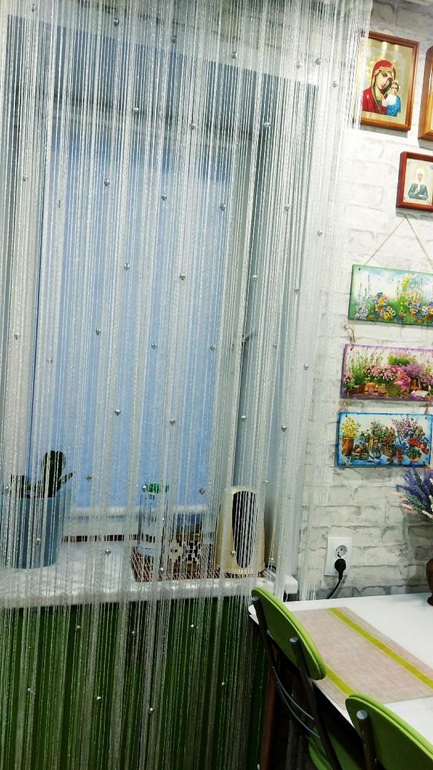 Кисея Дождь однотонный с шарами col 1 в интерьере 20