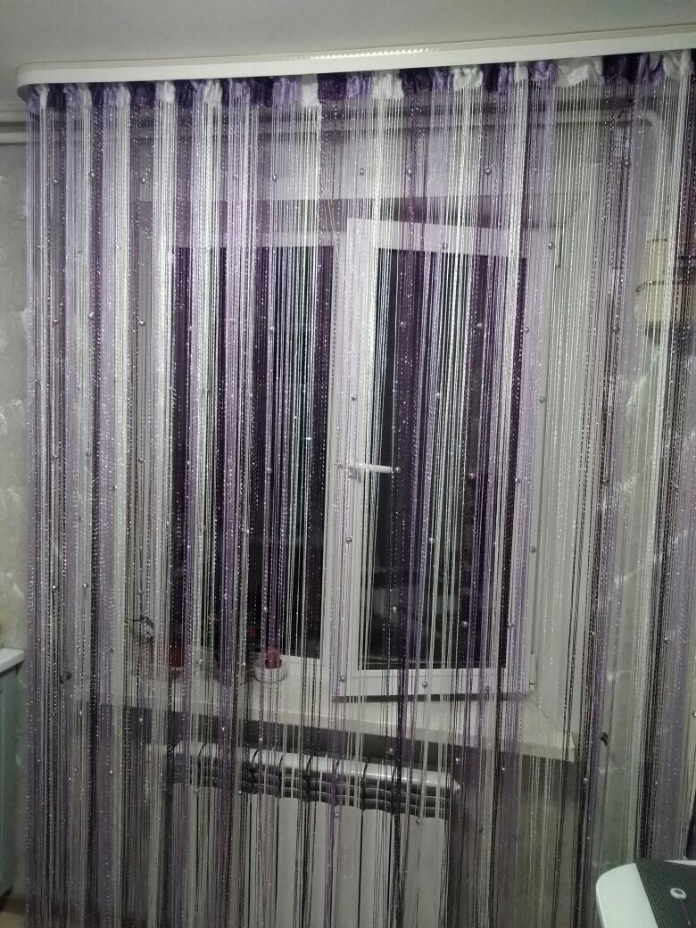 Кисея Дождь радуга с шарами col 1+12+205 в интерьере 4