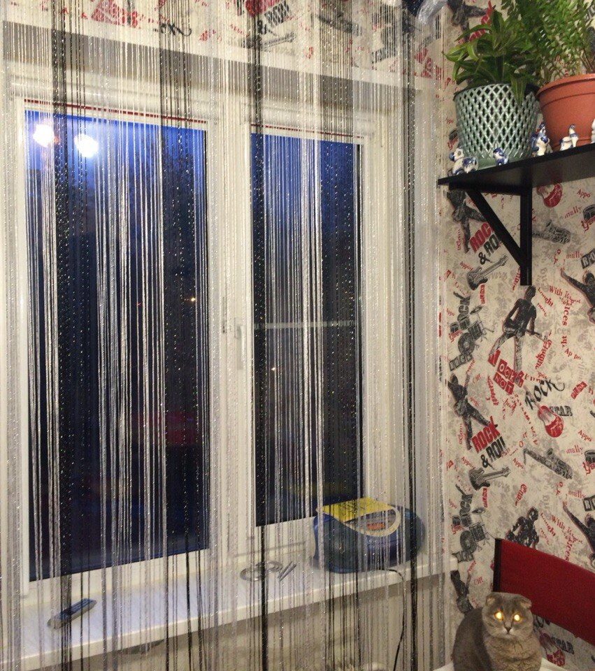 Кисея Дождь радуга col 1+7+9 в интерьере