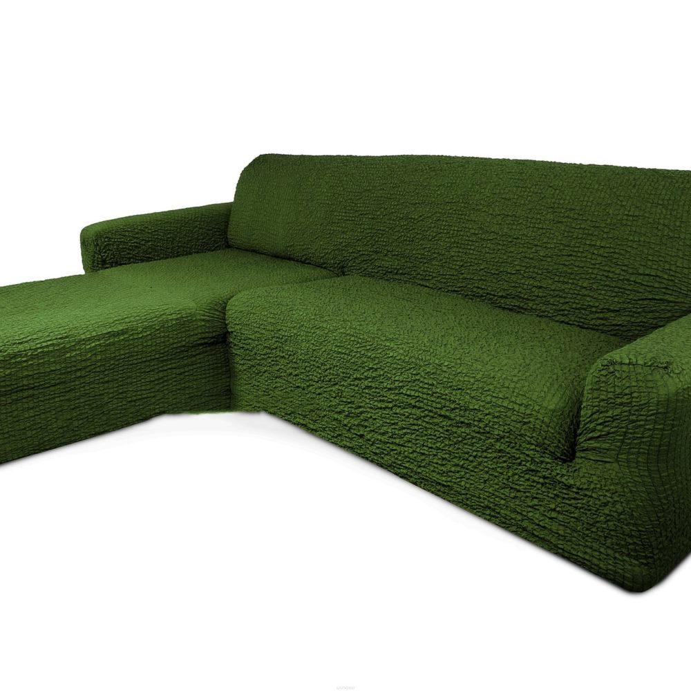 Чехол на диван с выступом слева зеленый