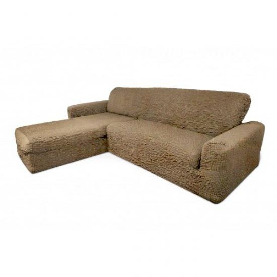 Чехол на диван с выступом слева капучино