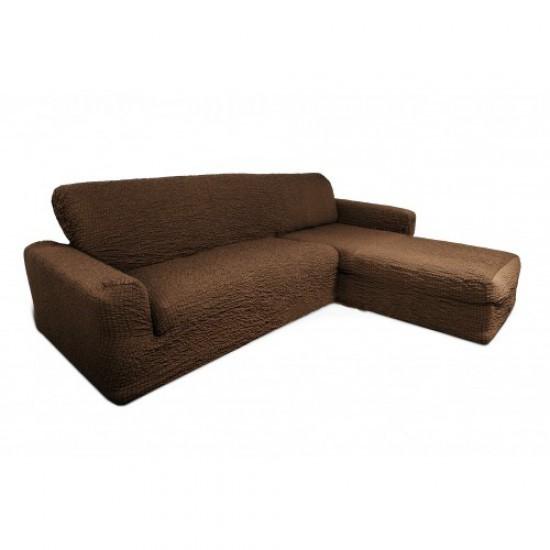 Чехол на диван с выступом справа шоколад