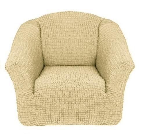 Чехол на кресло без оборки бежевый