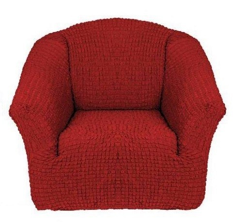 Чехол на кресло без оборки бордо