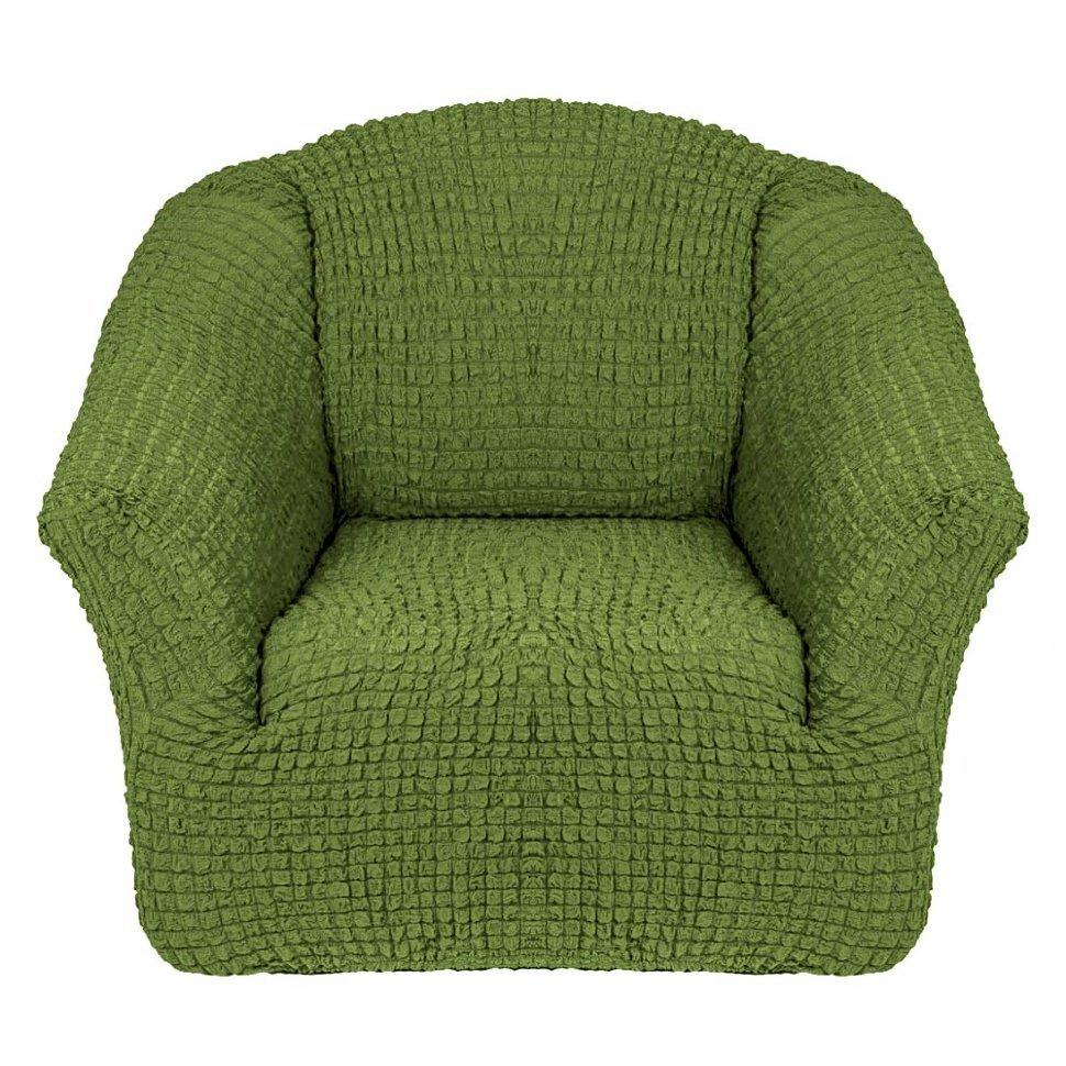 Чехол на кресло без оборки зеленый