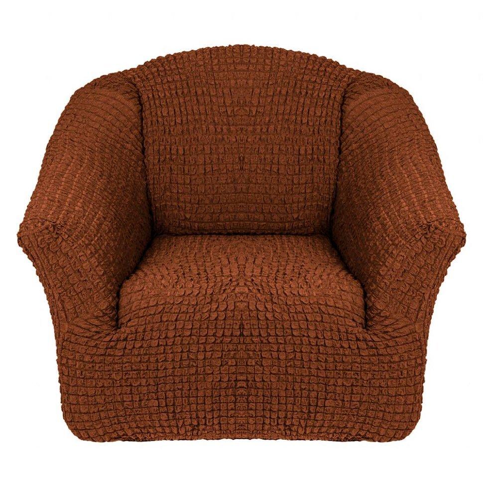Чехол на кресло без оборки коричневый