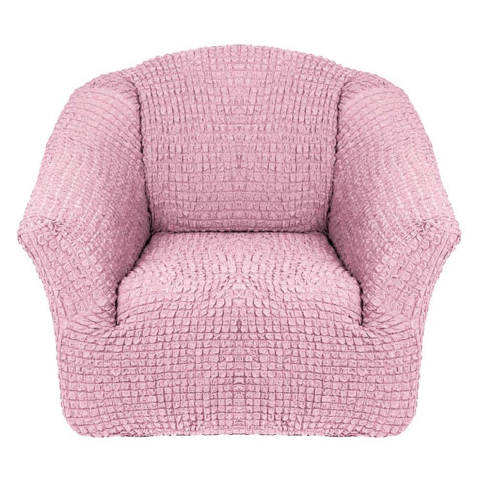Чехол на кресло без оборки розовый