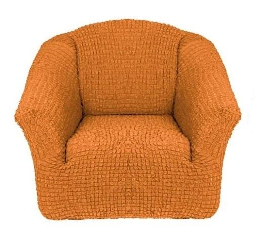 Чехол на кресло без оборки рыжий