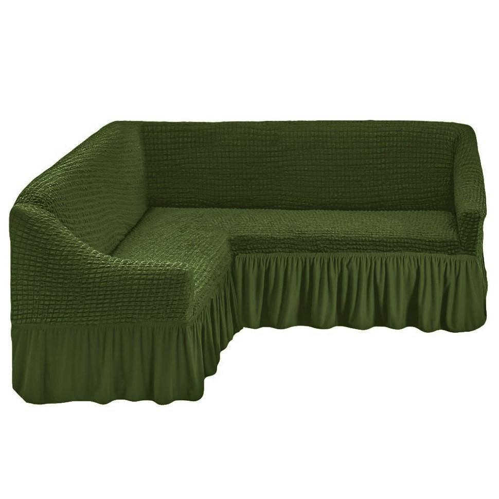 Чехол на угловой диван зеленый