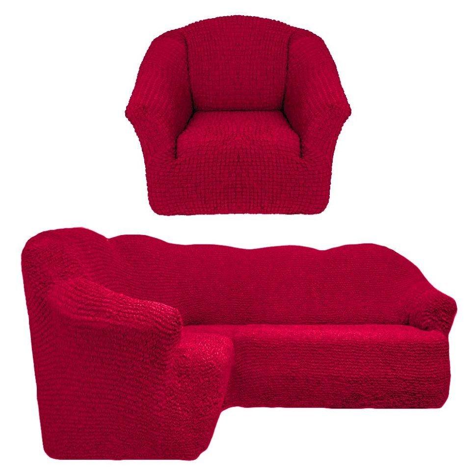 Чехол на угловой диван и одно кресло без оборки бордо