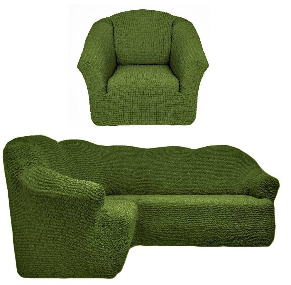 Чехол на угловой диван и одно кресло без оборки зеленый
