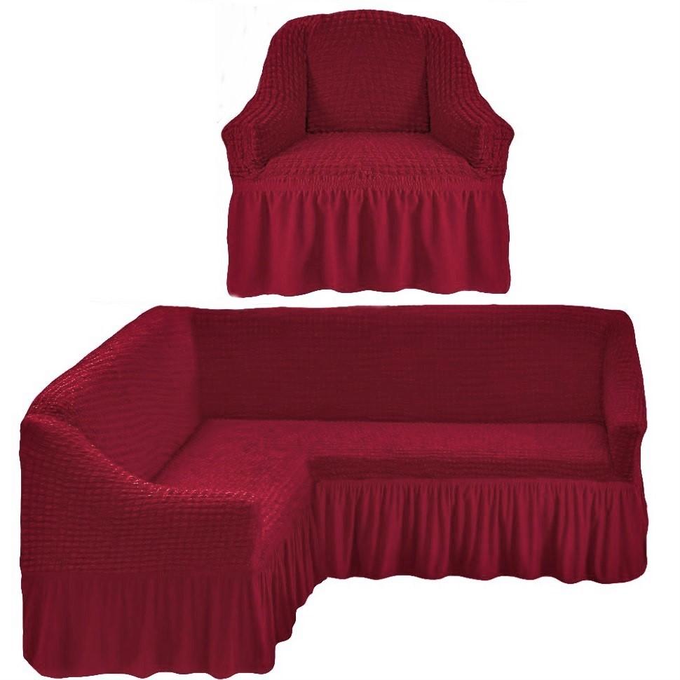 Чехол на угловой диван и одно кресло бордо