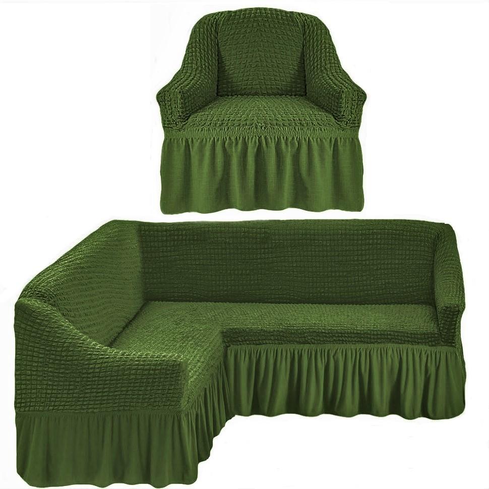 Чехол на угловой диван и одно кресло зеленый