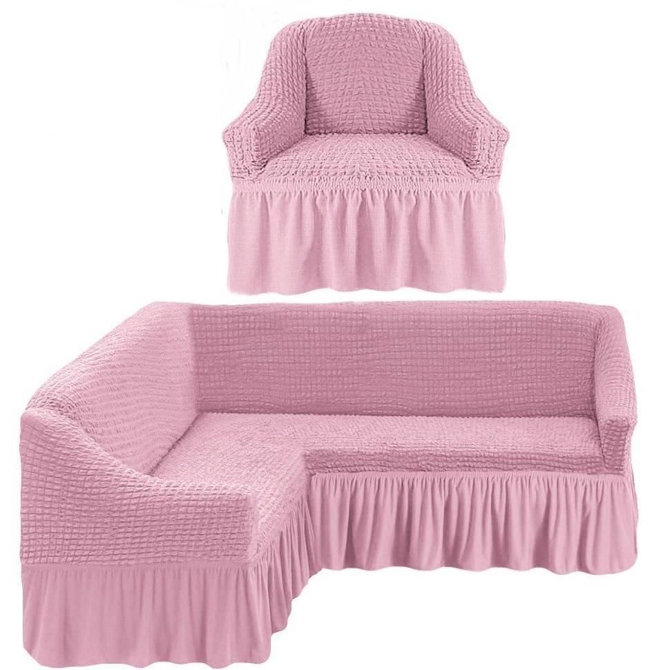 Чехол на угловой диван и одно кресло розовый