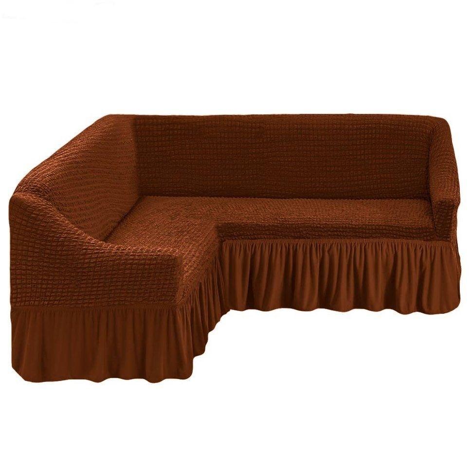 Чехол на угловой диван коричневый