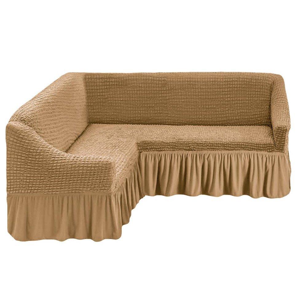 Чехол на угловой диван песочный