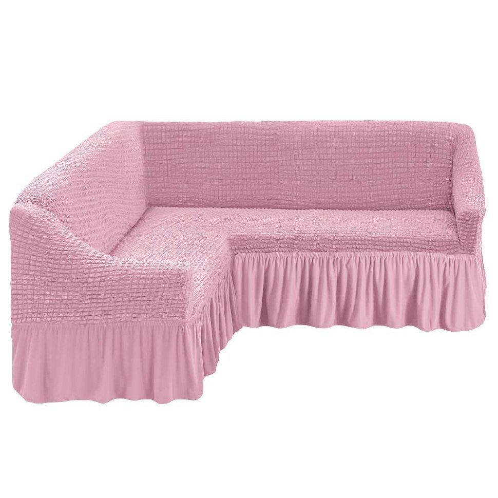 Чехол на угловой диван розовый