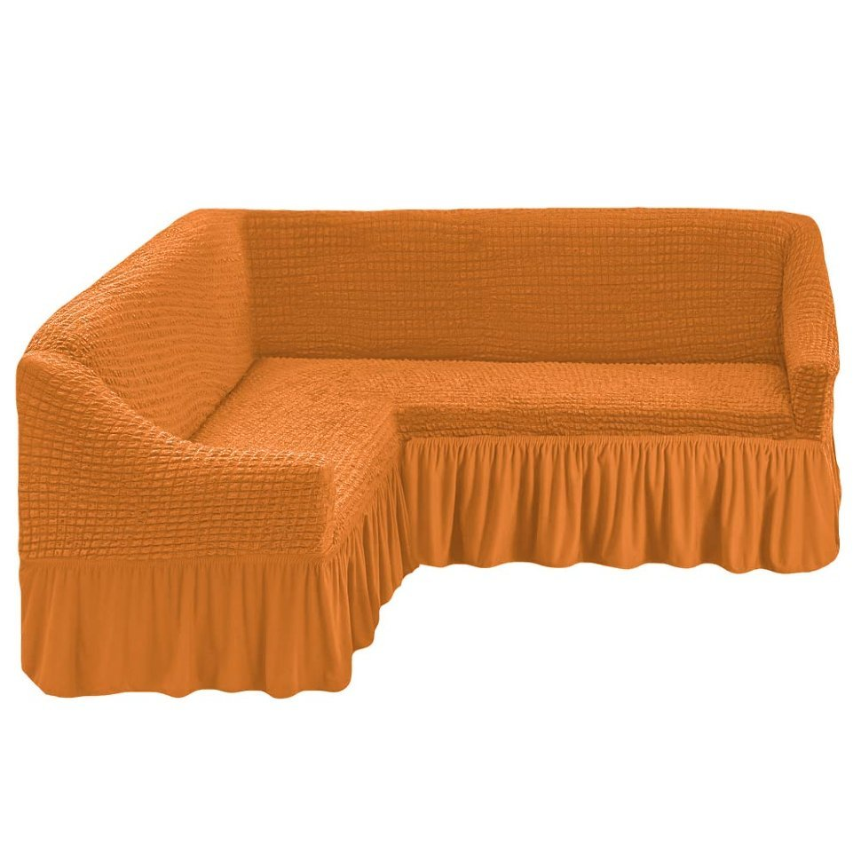 Чехол на угловой диван рыжий