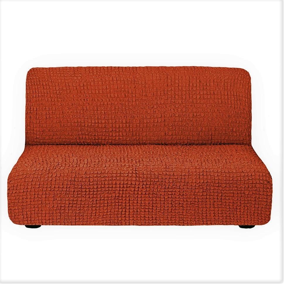 Чехол на 3-х местный диван без подлокотников кирпичный