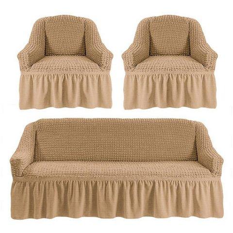 Чехол на 3-х местный диван и два кресла бежевый