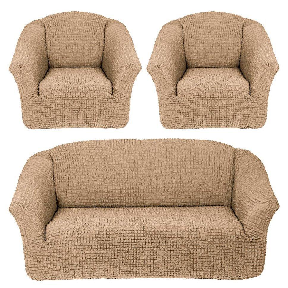 Чехол на 3-х местный диван и два кресла без оборки бежевый