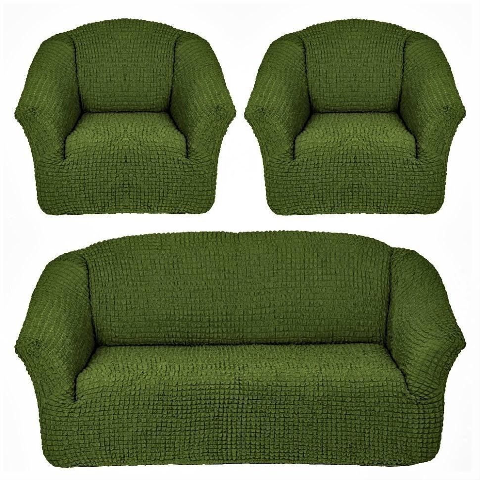 Чехол на 3-х местный диван и два кресла без оборки зеленый