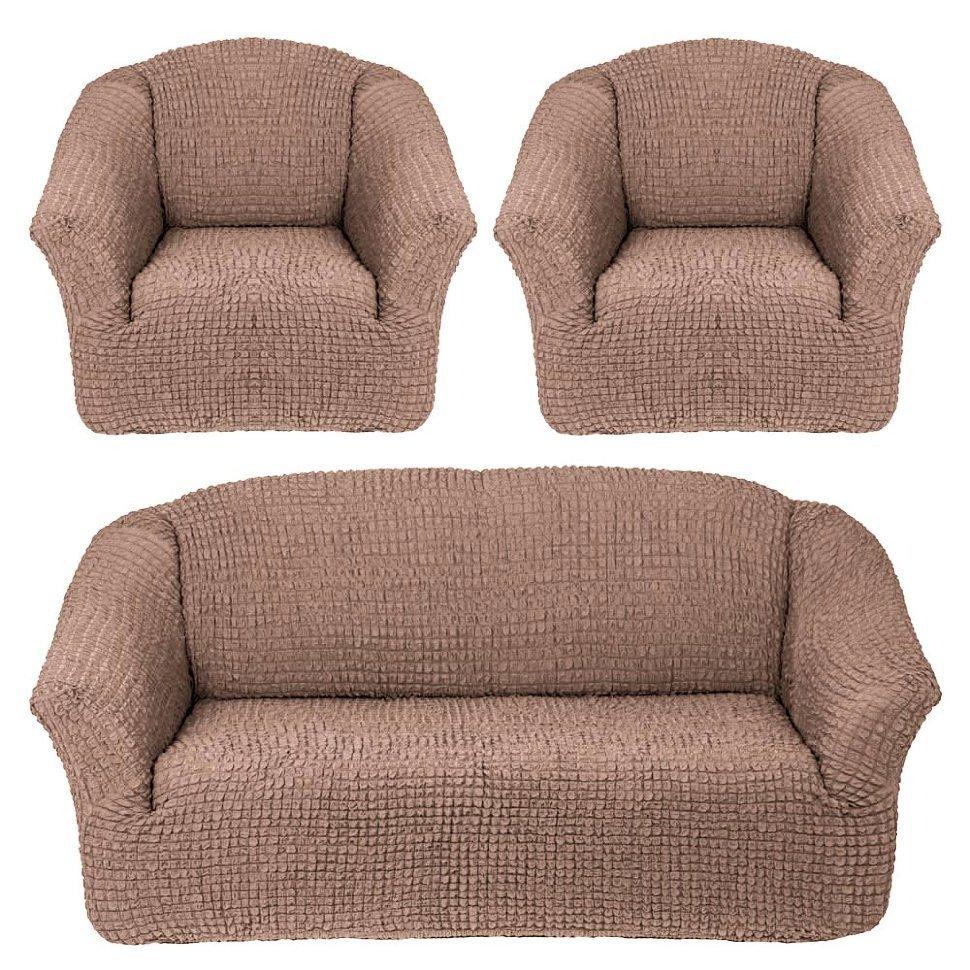 Чехол на 3-х местный диван и два кресла без оборки капучино