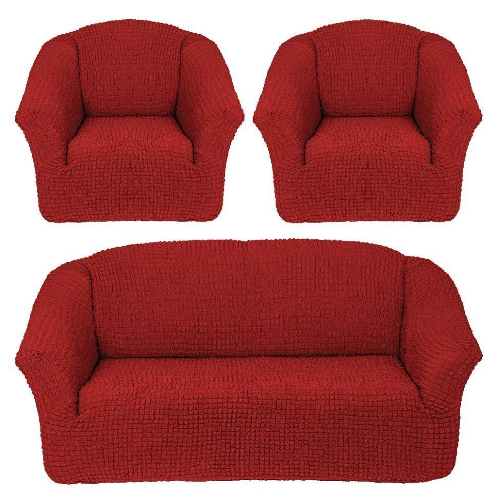 Чехол на 3-х местный диван и два кресла без оборки кирпичный