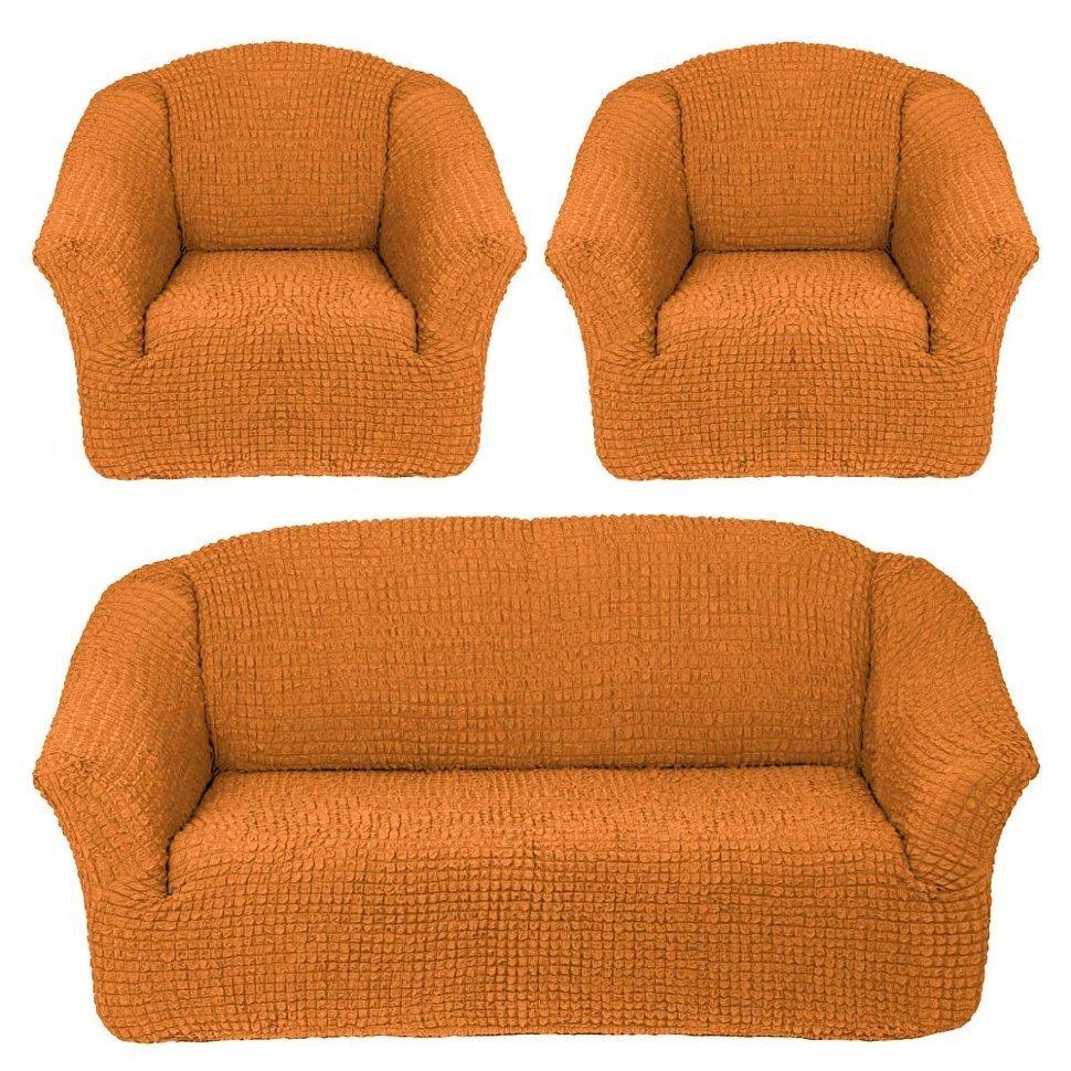 Чехол на 3-х местный диван и два кресла без оборки рыжий