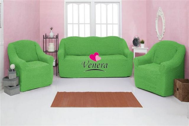 Чехол на 3-х местный диван и два кресла без оборки салатовый