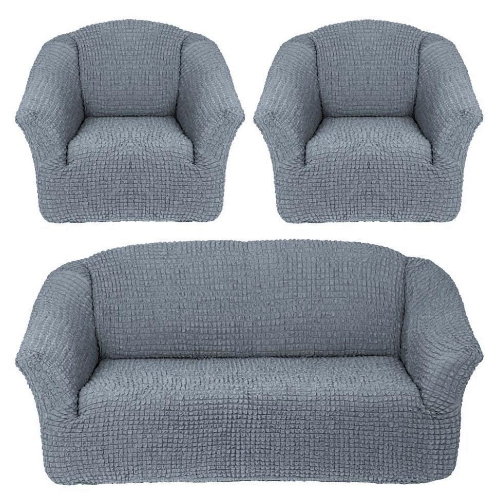 Чехол на 3-х местный диван и два кресла без оборки серый