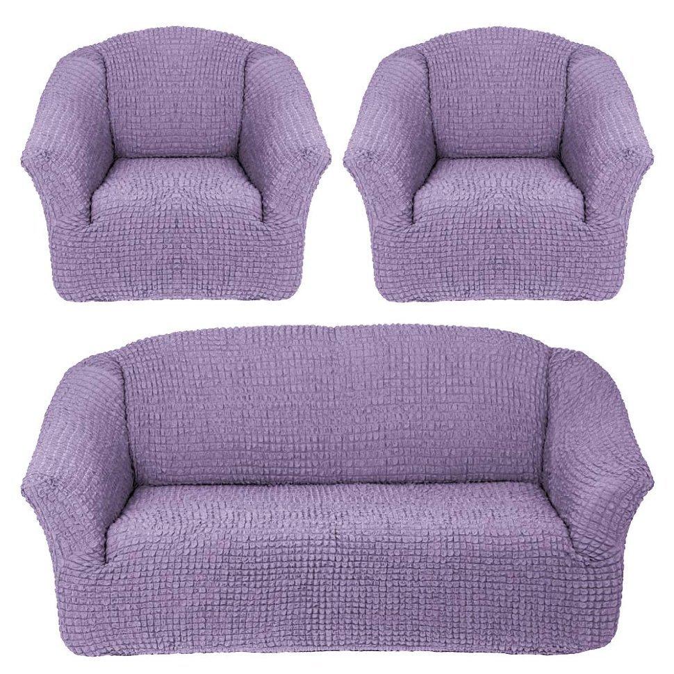 Чехол на 3-х местный диван и два кресла без оборки сиреневый
