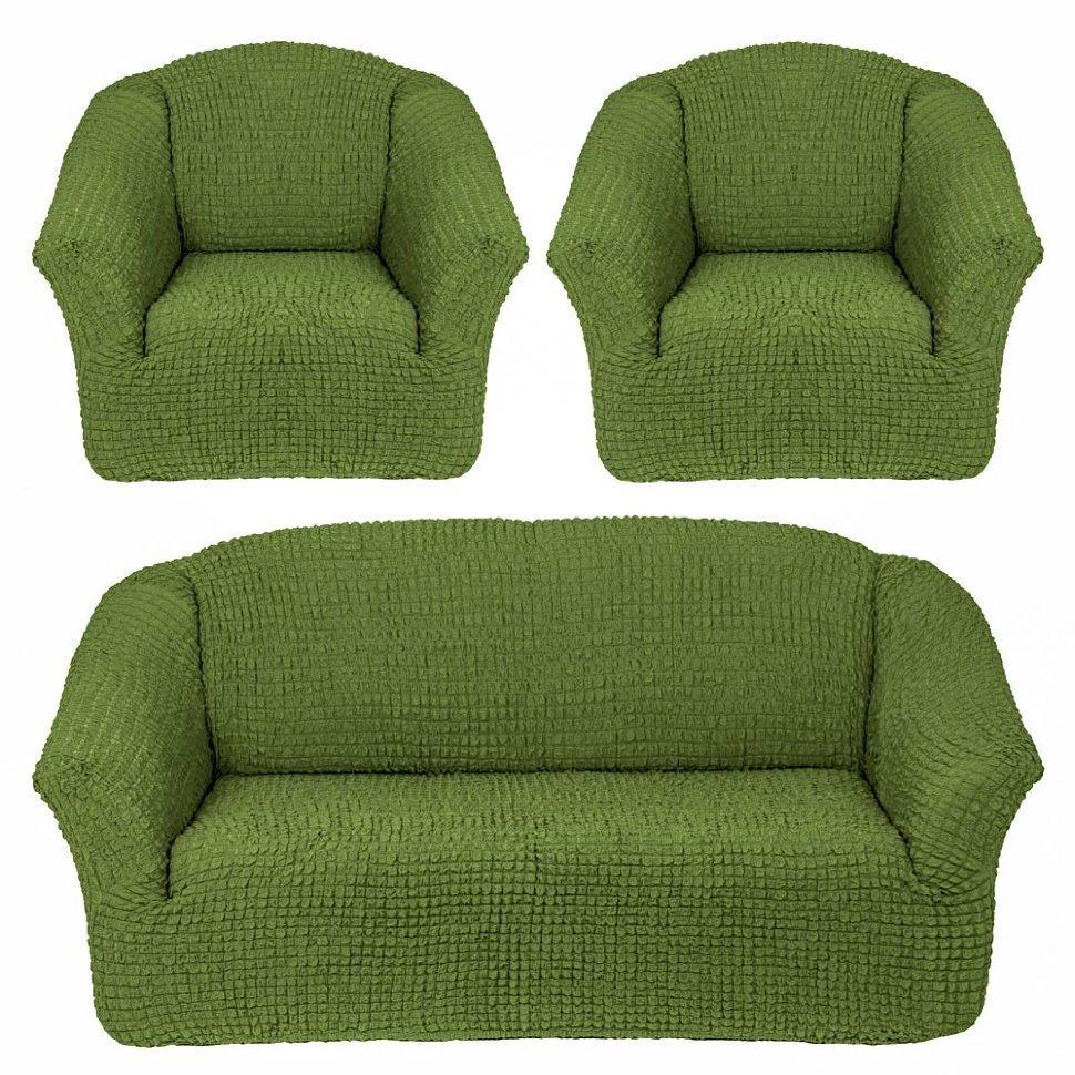 Чехол на 3-х местный диван и два кресла без оборки фисташковый