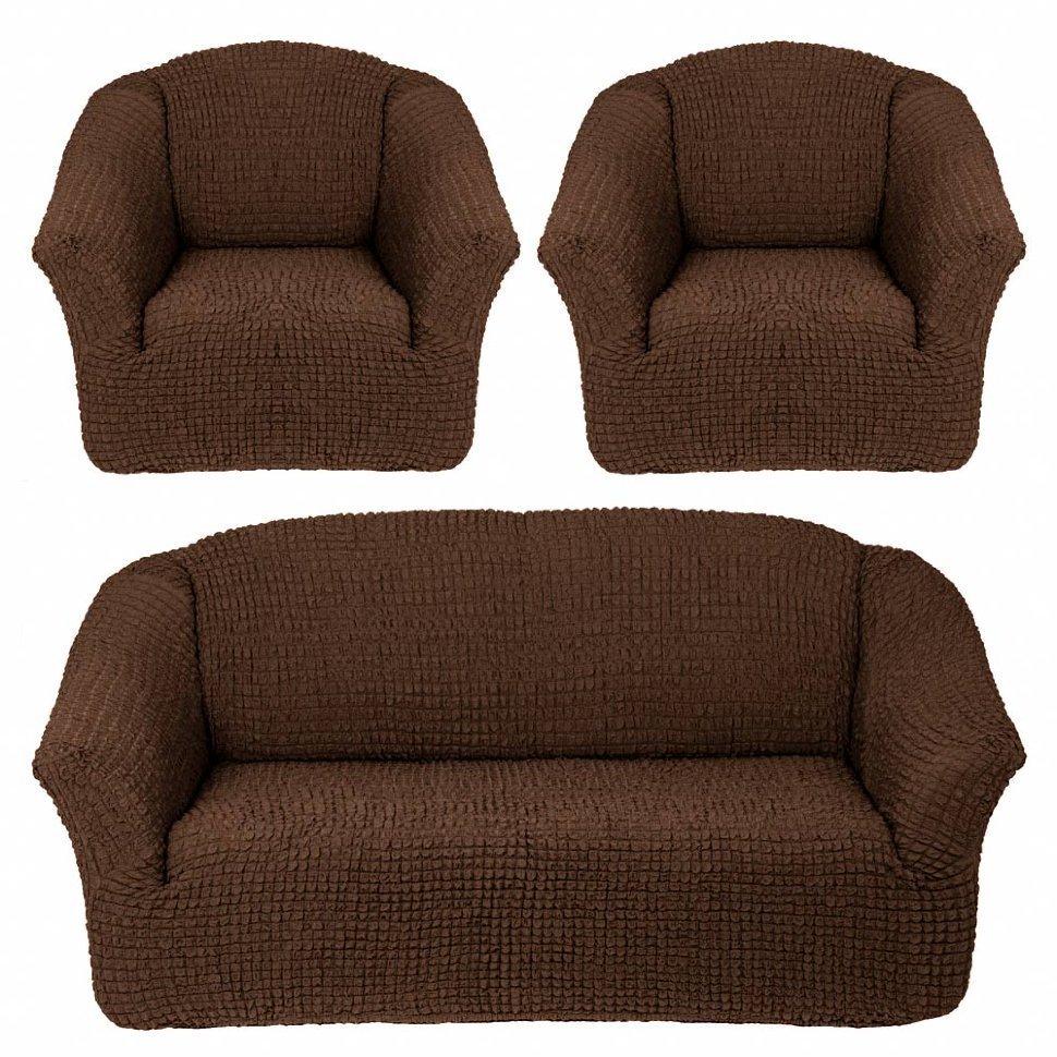 Чехол на 3-х местный диван и два кресла без оборки шоколад