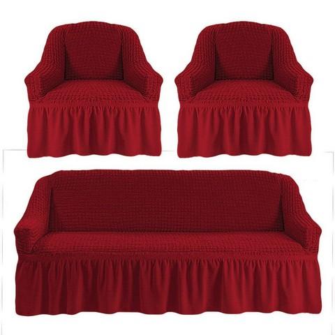 Чехол на 3-х местный диван и два кресла бордо