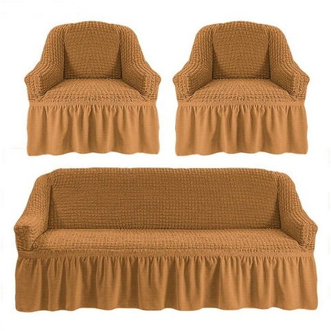 Чехол на 3-х местный диван и два кресла горчичный