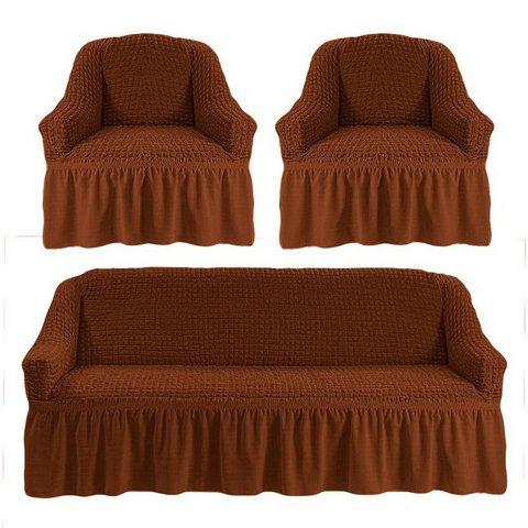 Чехол на 3-х местный диван и два кресла коричневый
