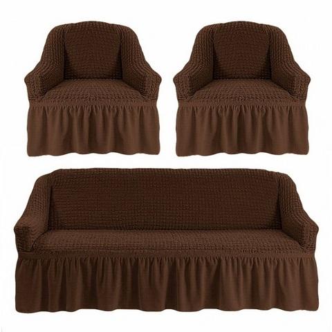 Чехол на 3-х местный диван и два кресла шоколад