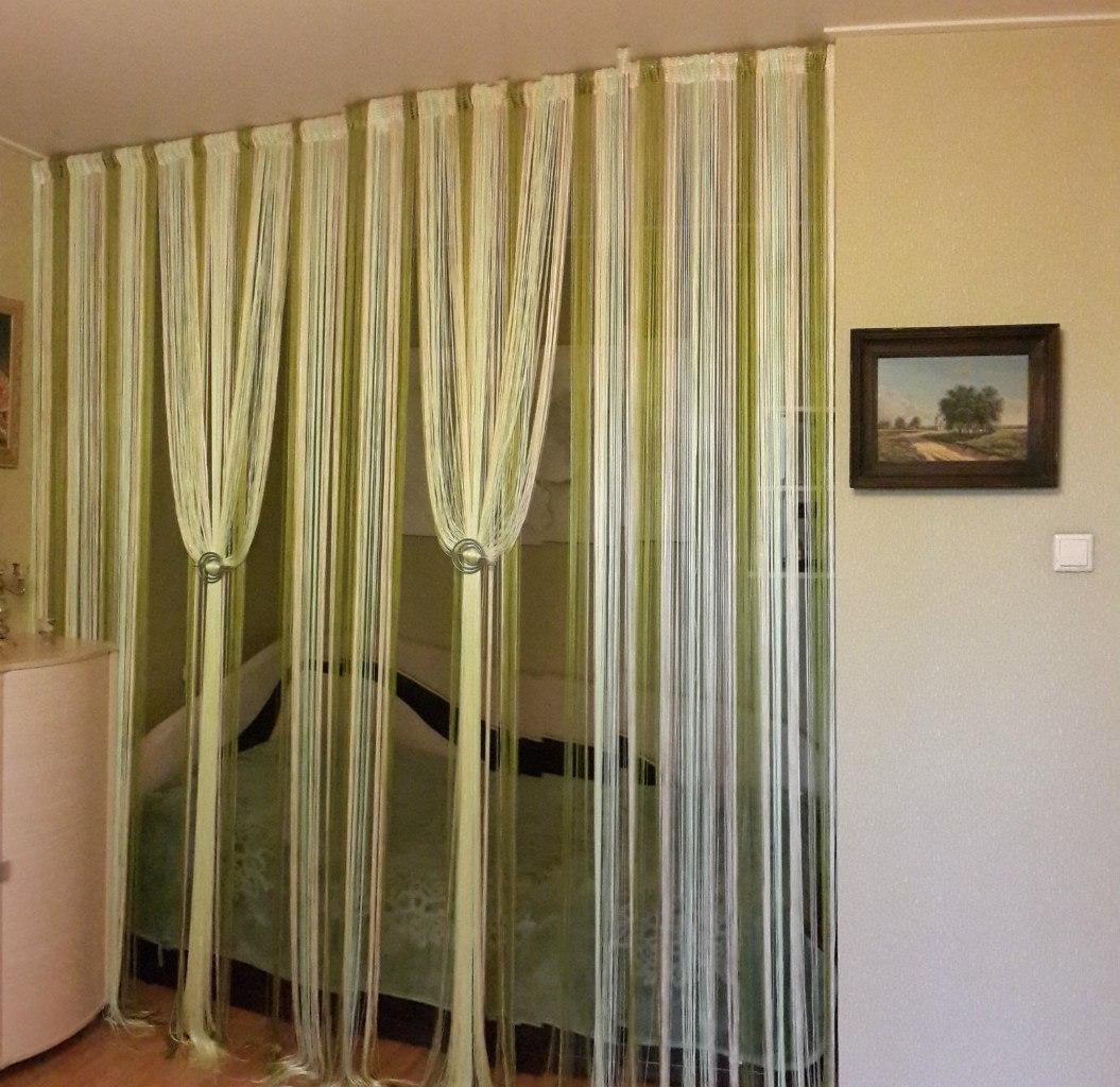 Дизайн с веревочными шторами фото
