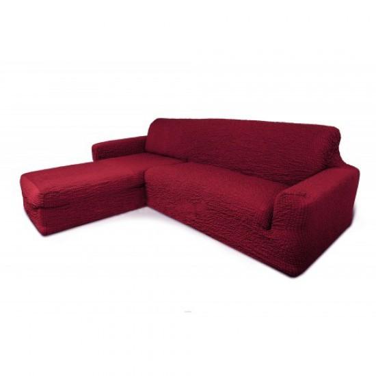 Чехол на диван с выступом слева бордо