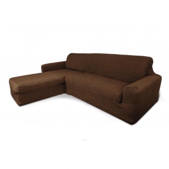 Чехол на диван с выступом слева шоколад