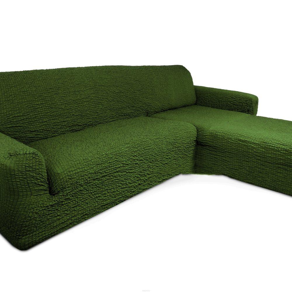 Чехол на диван с выступом справа зеленый