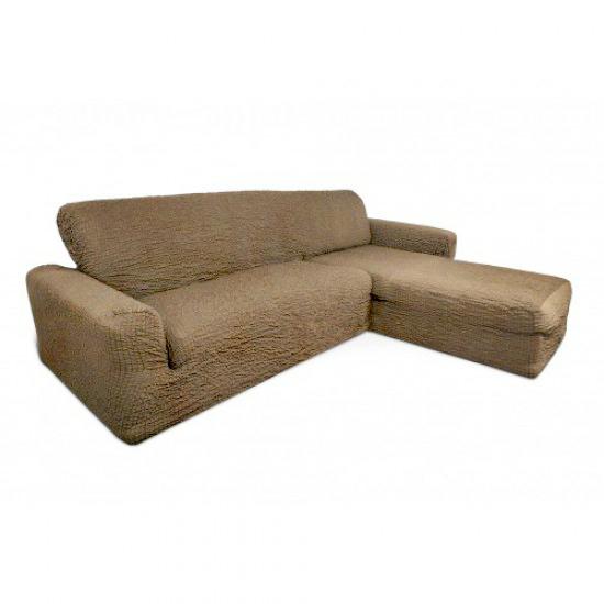 Чехол на диван с выступом справа капучино