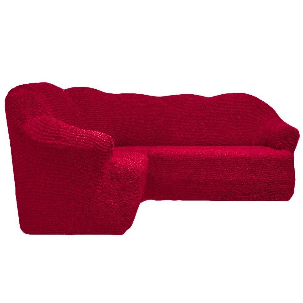 Чехол на угловой диван без оборки бордо