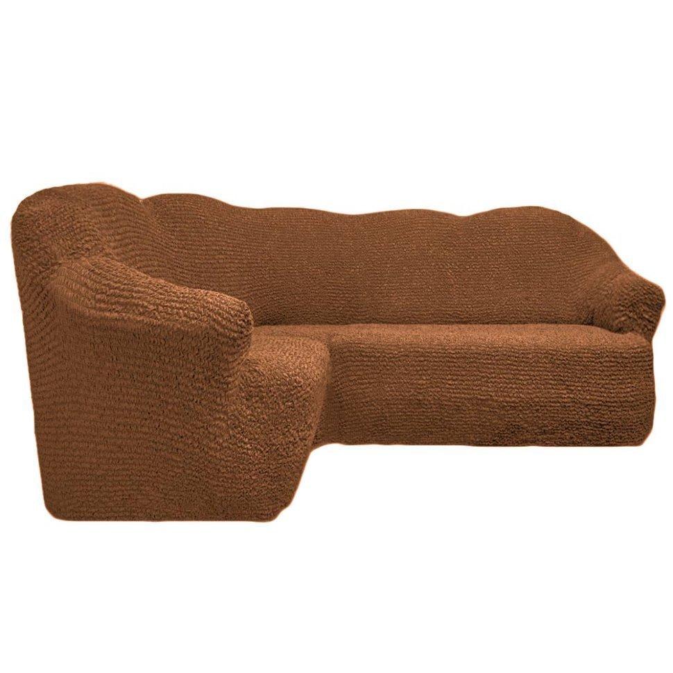 Чехол на угловой диван без оборки короичневый
