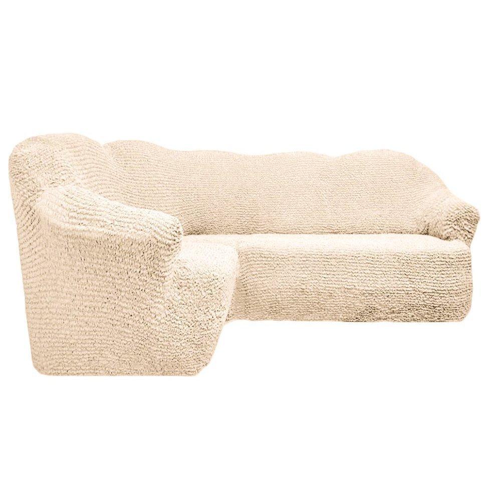 Чехол на угловой диван без оборки шампань