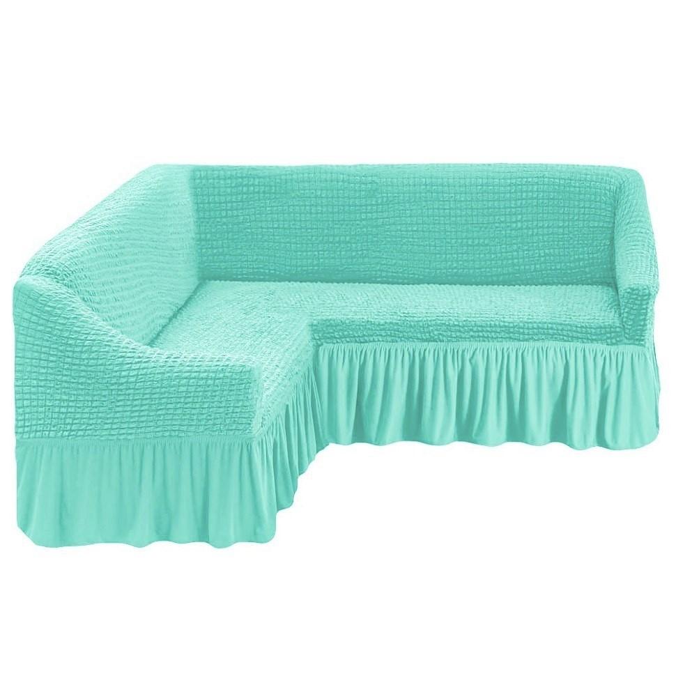 Чехол на угловой диван бирюза