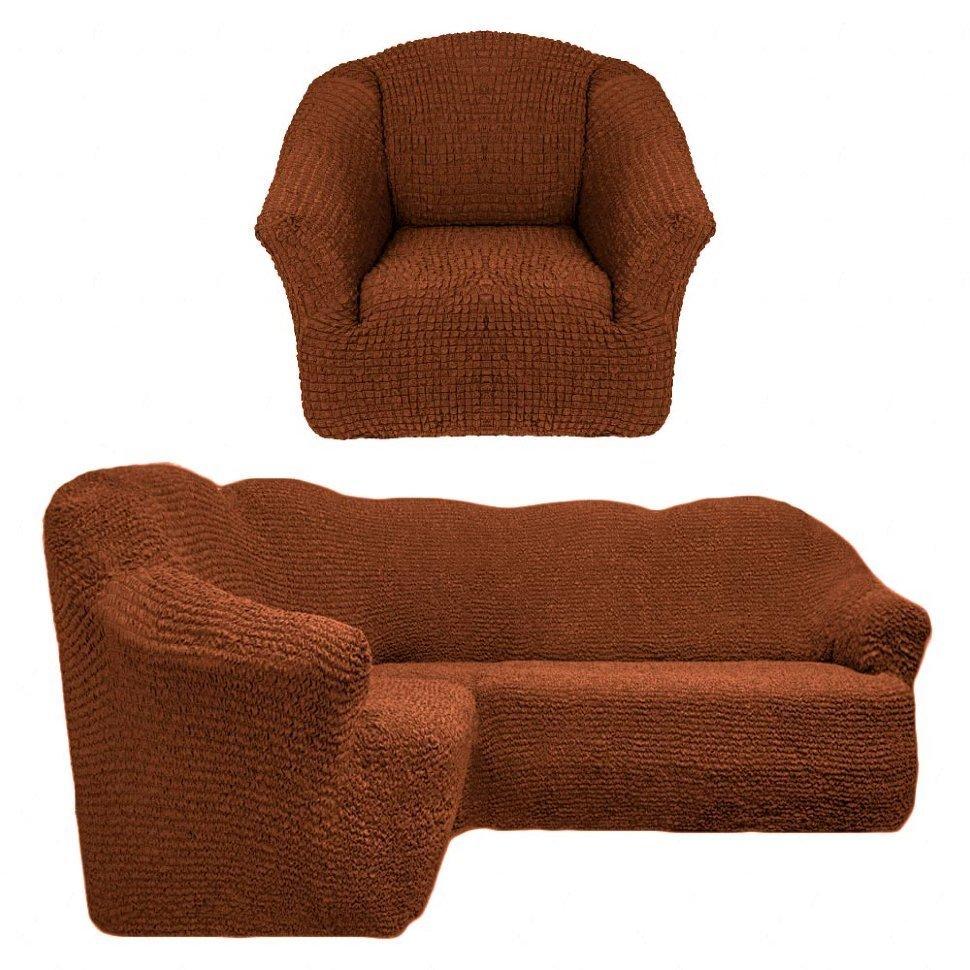 Чехол на угловой диван и одно кресло без оборки коричневый